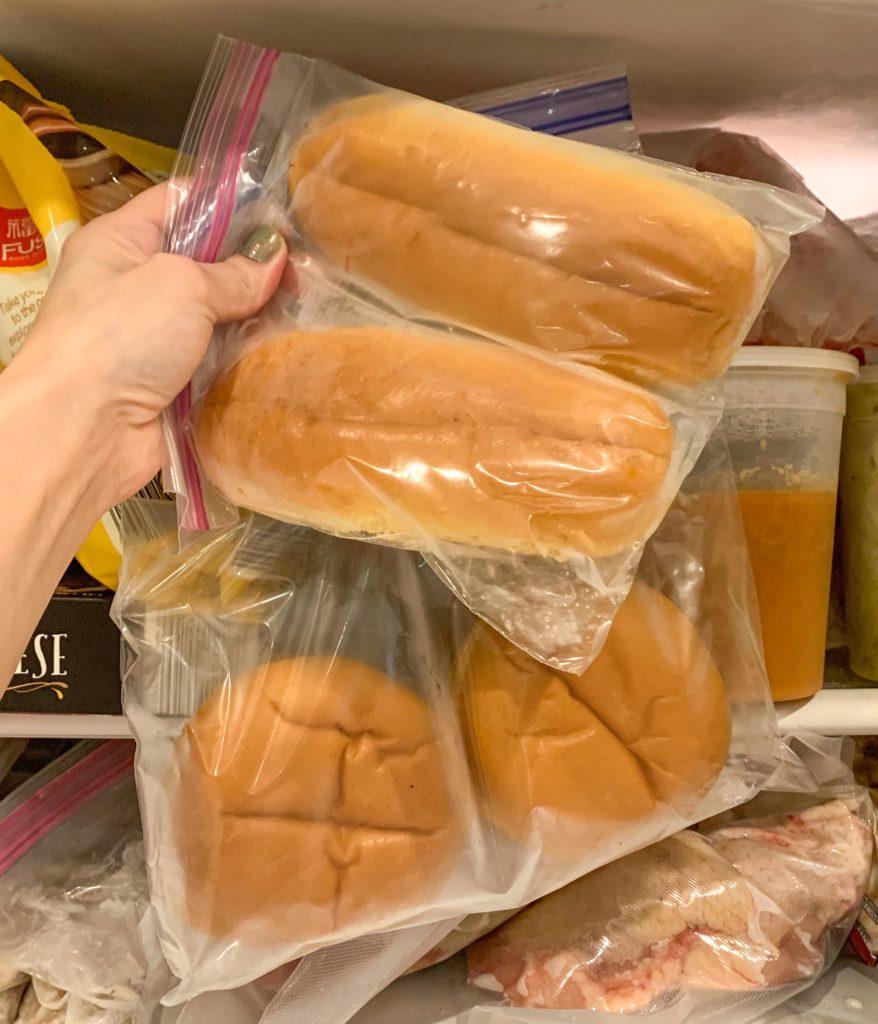 leftover hot dog and hamburger buns in freezer